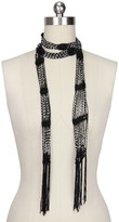 Saachi Black Silver Jeweled Scarf Necklace
