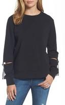 Bobeau Women's D-Ring Cutout Sleeve Sweatshirt