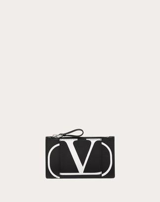 Valentino Uomo Vlogo Cardholder Man Black Calfskin 100% OneSize