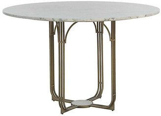 Gabby Greene Marble Dining Table - Green/Brass