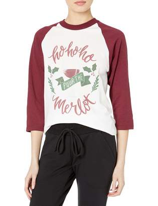 Soffe Women's Funny Novelty Christmas Sloga Raglan Ho Merlot Small
