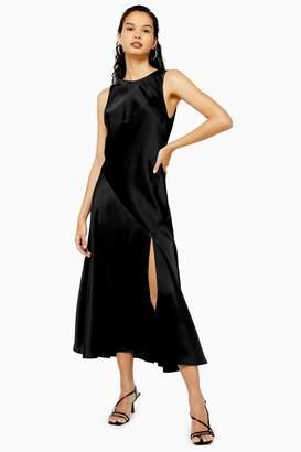 Topshop Womens Black Sleeveless Satin Split Dress - Black