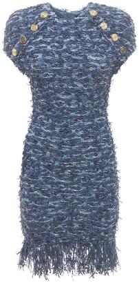 Balmain Viscose Blend Fringed Tweed Mini Dress