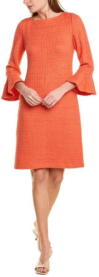 St. John Windowpane Wool-Blend Sheath Dress
