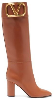 Valentino Supervee V-logo Knee-high Leather Boots - Tan