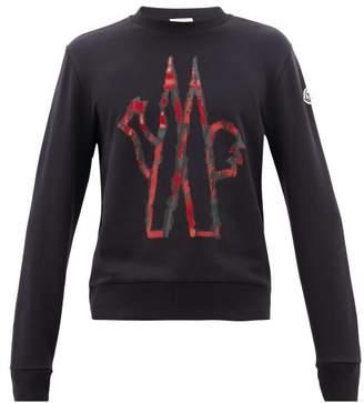 Moncler Logo-print Cotton-jersey Sweatshirt - Mens - Navy
