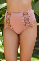 La Hearts Shine Lace-Up High-Waisted Bikini Bottom