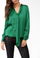 Forever 21 Satin Tie Collar Button Up