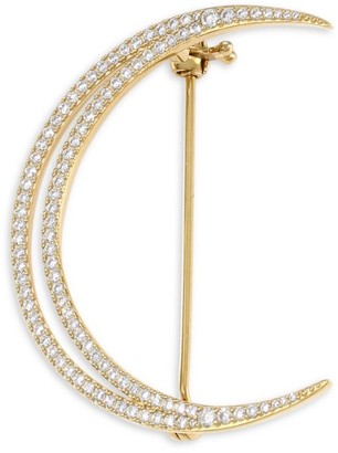 Adriana Orsini 18K Yellow Goldplated & Cubic Zirconia Pave Crescent Moon Brooch