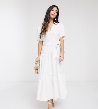 ASOS DESIGN Petite v neck tiered midi dress with belt in white
