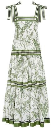 Zimmermann Empire Tie Shoulder Dress in Khaki Palm
