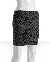 grey stretch leopard print mini pencil skirt