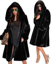 Roiii Womens Winter Luxury Outerwear Long Sleeve Faux Mink Fur Coat (S, )