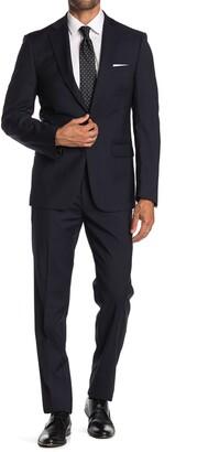 Calvin Klein Dark Blue Tonal Pinstripe Wool Two Button Notch Lapel Suit
