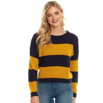 Fluid Womens Striped Sweater Dark Navy/Gold