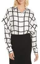 Diane von Furstenberg Windowpane Plaid Button Down Silk Shirt