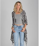 Billabong Juniors Liv It up Plaid Sweater with Fringe
