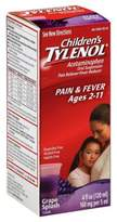 Tylenol Children's 4 oz. Pain Reliever/Fever Reducer Oral Suspension Liquid in Grape