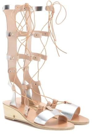 Ancient Greek Sandals Thebes Wedge metallic leather gladiator sandals