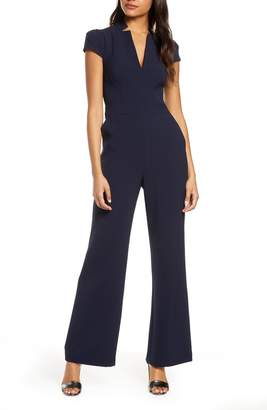 Vince Camuto Notch Collar Cap Sleeve Crepe Jumpsuit