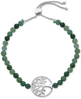 Giani Bernini Green Agate Semi-Precious (16-1/2 ct. t.w.) Tree of Life Slider Bracelet in Sterling Silver, Only at Macy's