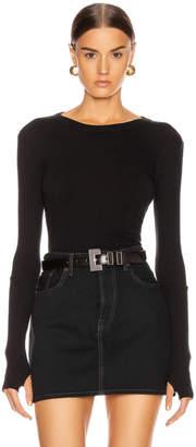 Enza Costa Cashmere Long Sleeve Crew Bodysuit in Black | FWRD