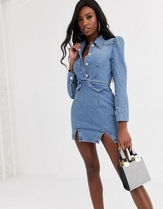 Asos Design DESIGN denim mini western shirt dress with puff sleeve