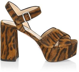 Prada Leopard-Print Suede Platform Sandals