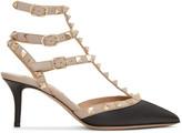 Valentino Black and Pink Rockstud Cage Heels