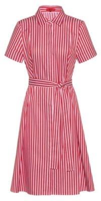 HUGO Slim-fit shirt dress in striped cotton twill