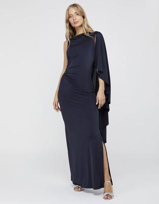 Under Armour Ophelia One Shoulder Cape Maxi Dress Blue
