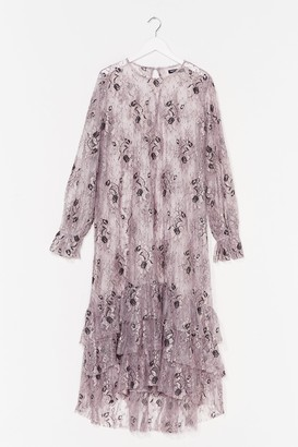 Nasty Gal Womens Conversation Starter Lace Midi Dress - Purple - 4
