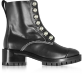 3.1 Phillip Lim Hayett Black Leather Ankle Boots w/Pearls