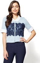 New York & Co. 7th Avenue - Lace Cardigan Twofer Top - Blue
