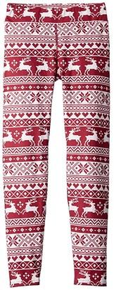 Hot Chillys Kids Micro Elite Chamois Print Leggings (Little Kids/Big Kids) (Santa Baby) Girl's Casual Pants