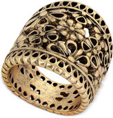 Lucky Brand Gold-Tone Floral Openwork Statement Ring