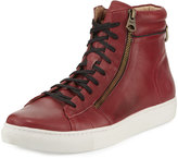 Andrew Marc Remsen Leather High-Top Sneaker, Oxblood/Black/White