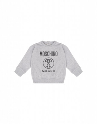 Moschino Double Question Mark Sweatshirt Unisex Grey Size 2a It - (2y Us)