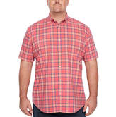 THE FOUNDRY SUPPLY CO. The Foundry Big & Tall Supply Co. Short Sleeve Checked Button-Front Shirt-Big and Tall