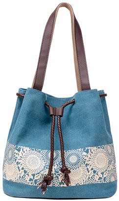 Ella & Elly Women's Totebags Blue - Blue Floral Drawstring Tote