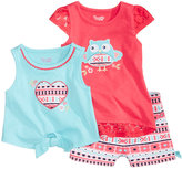 Nannette 3-Pc. Tank Top, T-Shirt & Shorts Set, Baby Girls (0-24 months)