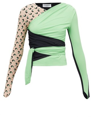 Marine Serre Draped Crossover Wrap Jersey Top - Womens - Green Multi