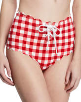 Marysia Swim Riviera Scalloped Check Bikini Bottoms