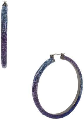 Betsey Johnson Glitter Ombre Hoop Earrings