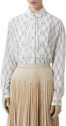 Burberry Jeweled Silk Button-Front Shirt
