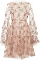 Luisa Beccaria Floral Embroidered Mini Dress