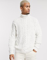 Asos Design ASOS DESIGN chunky cable jumper with multi fleck neps in white-Beige