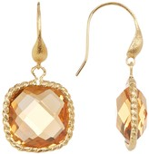 Rivka Friedman Twisted Cable Bezel Cushion Cut Faceted Citrine Crystal Drop Earrings