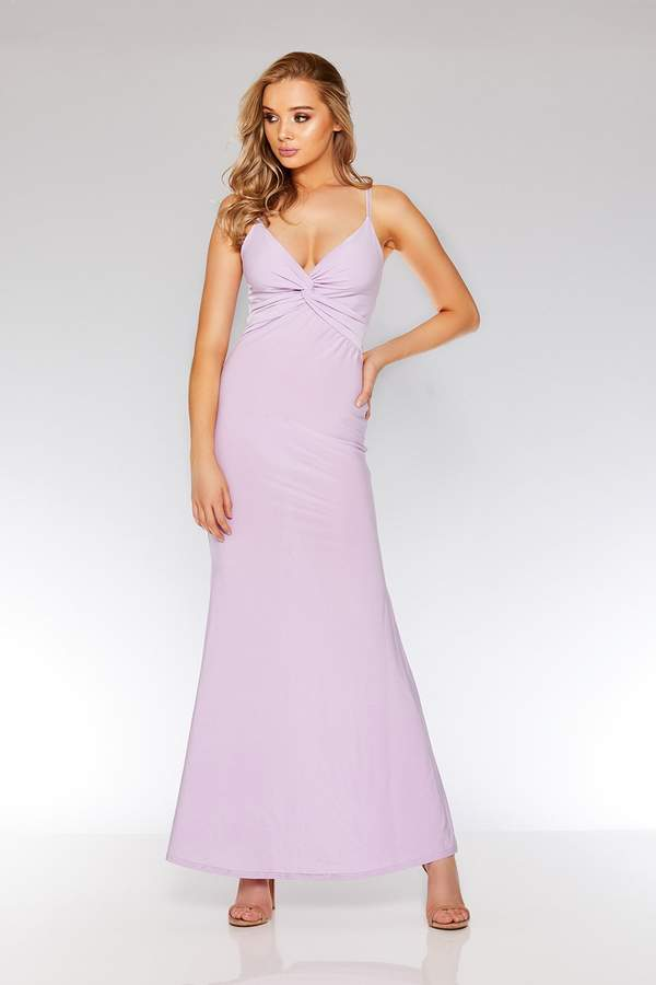 Quiz Lilac Knot Front Fishtail Maxi Dress