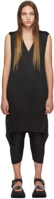 Pleats Please Issey Miyake Black V-Neck Dress